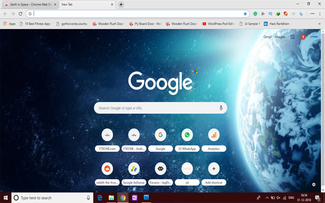 Earth in Space Chrome Theme