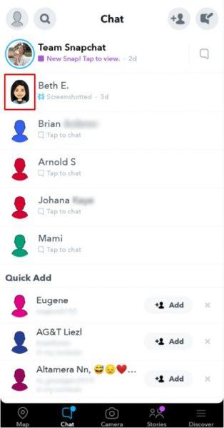 Chats on snapchat