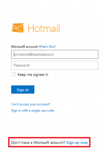 hotmail signing up
