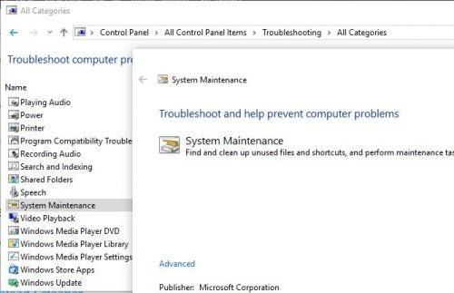system maintainance