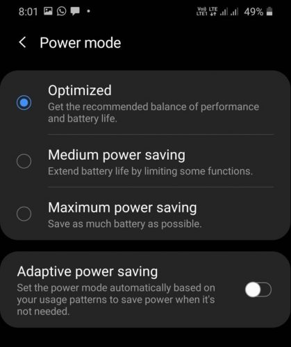 Samsung One UI Battery